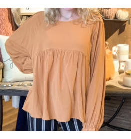 Long Puff Sleeve Babydoll Top