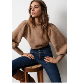 Sweater with puff Sleeve, Latte