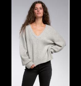 V-Neck Roll-Up Cuff Sweater, Grey