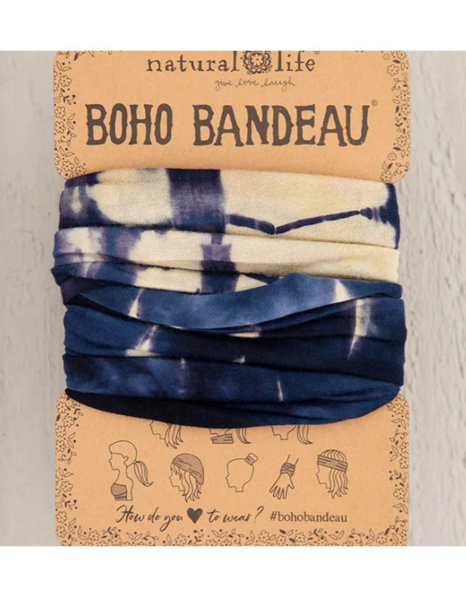Natural LIfe Boho Bandeau Cream/Navy Tie-Dye
