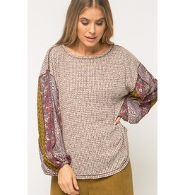 Mix Print Thermal Top, Burgundy