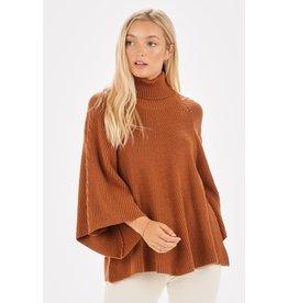Bell Sleeve Turtleneck Sweater Knit Top, Rust
