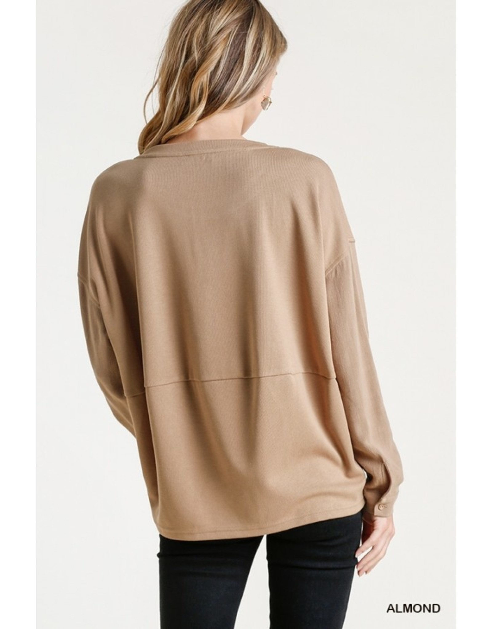 Long Sleeve Pullover Top with Button Cuffs