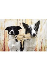 "16"" Leather & Wool Bone Dog Tug Toy"