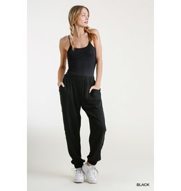Jogger Pants with Frayed Edge Detail