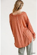 Mineral Washed Ribbed Long Sleeve Top
