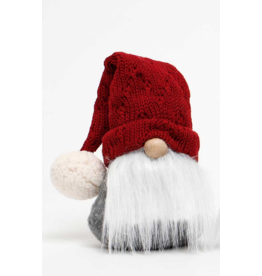 """Gnome, 9"""" with Grey Sweater and Red Hat"""