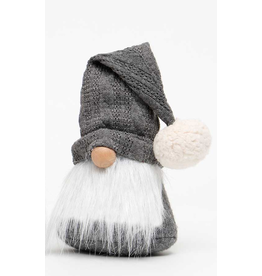 """Gnome, 9"""" with Sweater and Grey Hat"""