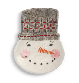 Red and White Snowman Spoon Rest