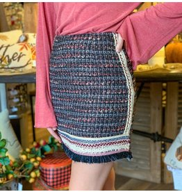 Embroidered Fringe Tweed Skirt
