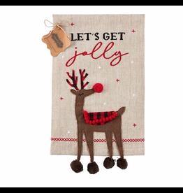Mud Pie Reindeer buffalo check dangle leg towel