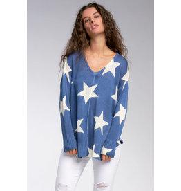 Denim with White Stars Lightweight Sweater