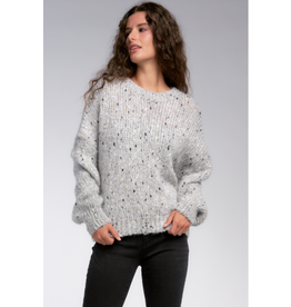 Grey Fleck Sweater with Gold Thread