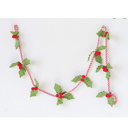 Felt Holly Leaf Garland with Red Berries