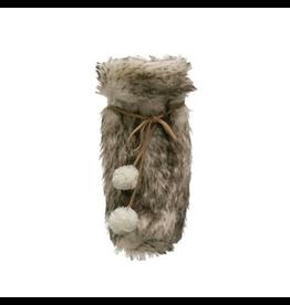 Faux Fur Wine Bag with Pom Tie