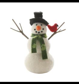 Wool Felt Snowman with Cardinal