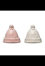 Stoneware Hats Salt & Pepper, pink & white, set of 2
