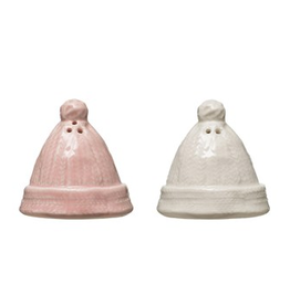 Stoneware Hats Salt & Pepper, pink & white, set of 2