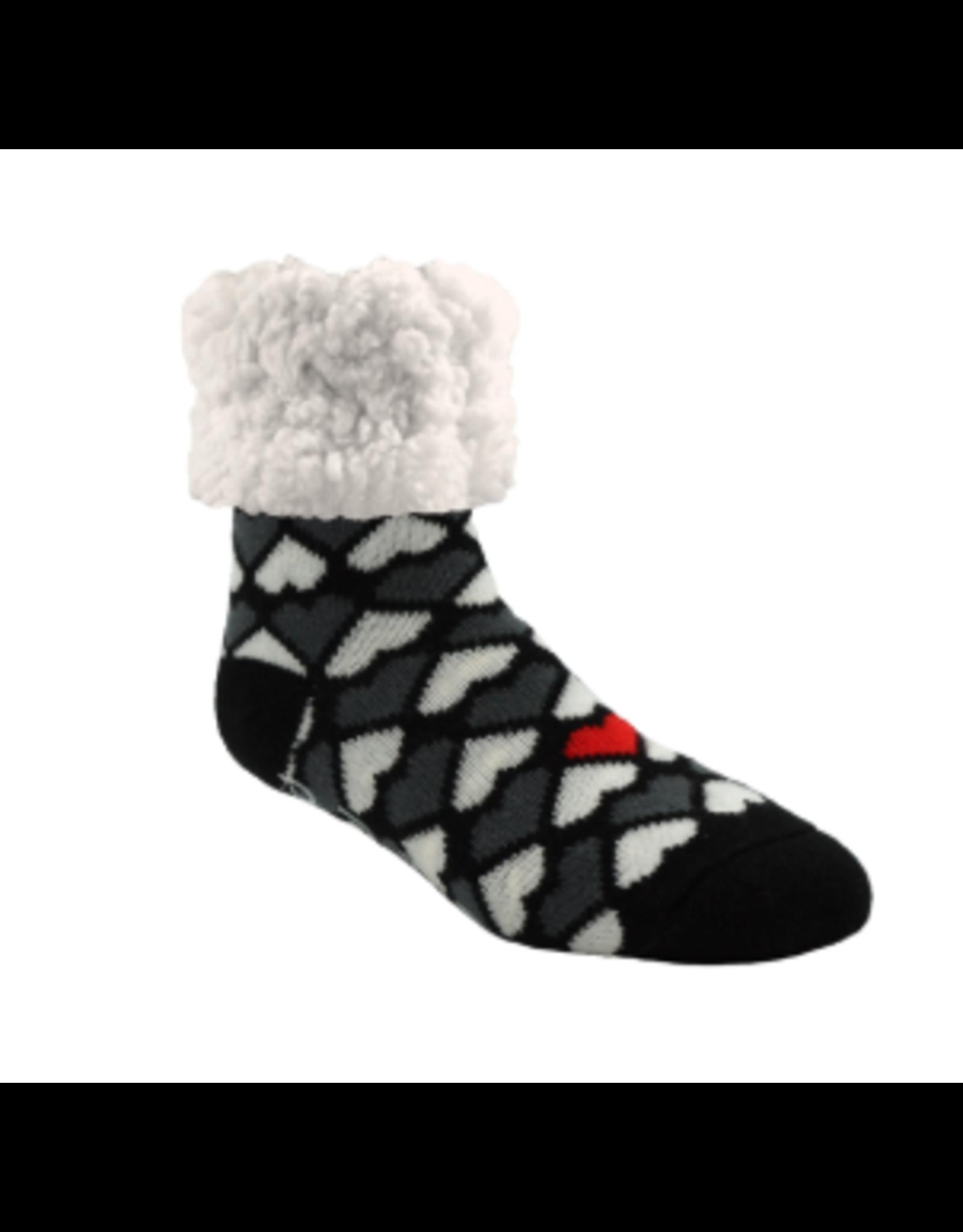 Pudus Classic Hearts Slipper Socks, black