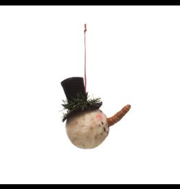 Wool Felt Snowman Head Ornament with Top Hat
