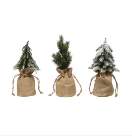 Faux Pine Tree in Burlap Bag, 3 styles to choose from