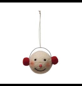 Felt Snowman Head Ornament with Earmuffs