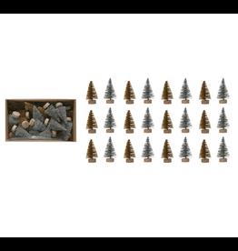 Bottle Brush Trees on Wood Base, Set of 24, silver and gold