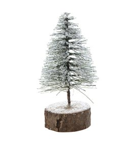 "6"" Snowy Bottlebrush Tree on Wood Slice"