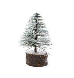 "4"" Snowy Bottlebrush Tree on Wood Slice"