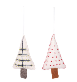 """Wool Felt Tree Ornament with Embroidery, 6"""""""