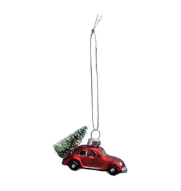 Glass Ornament, Red Car with Tree