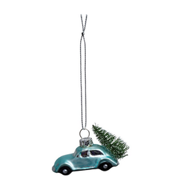 Glass Ornament, Blue Car with Tree