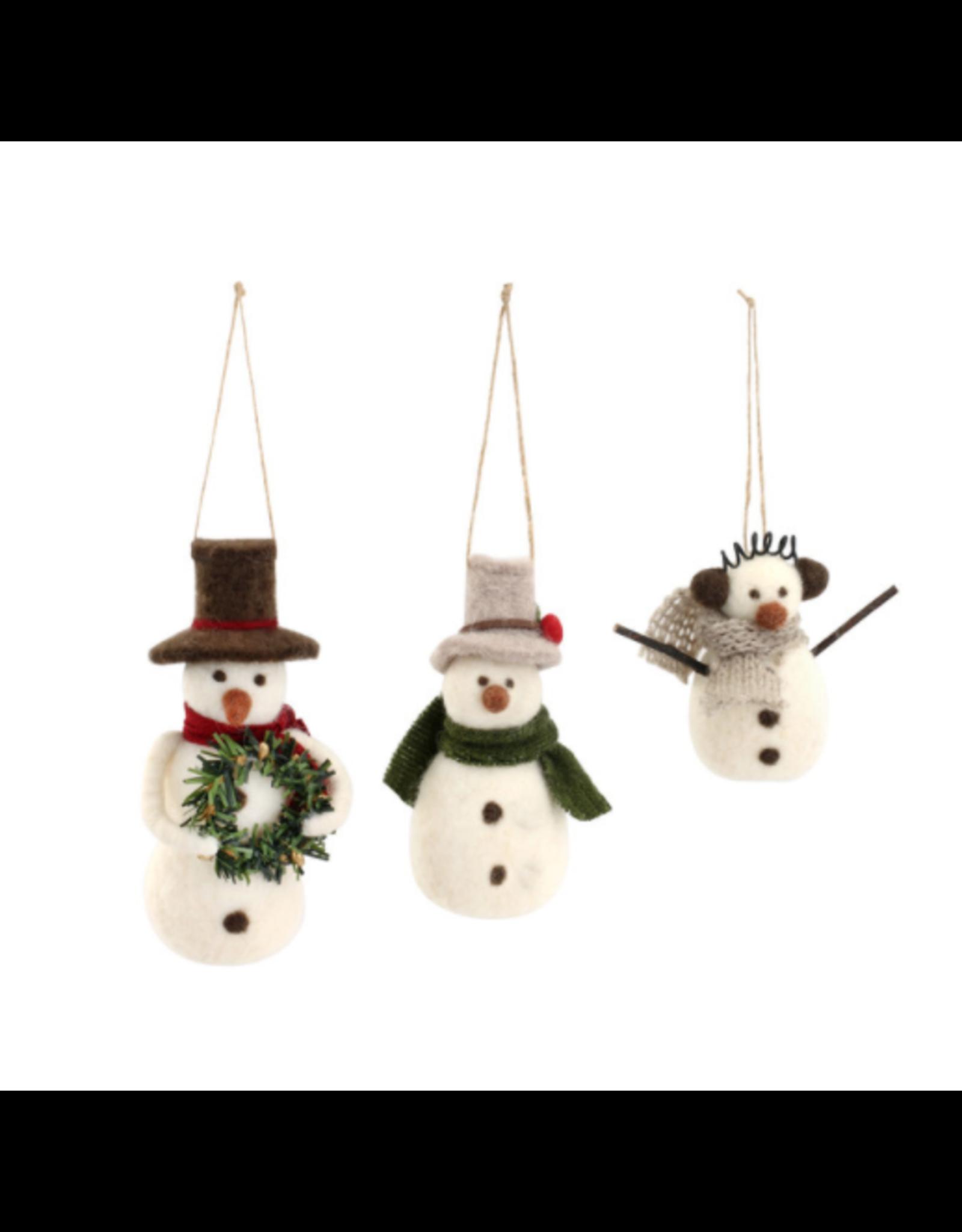 Snow Day Felt Snowman Ornament
