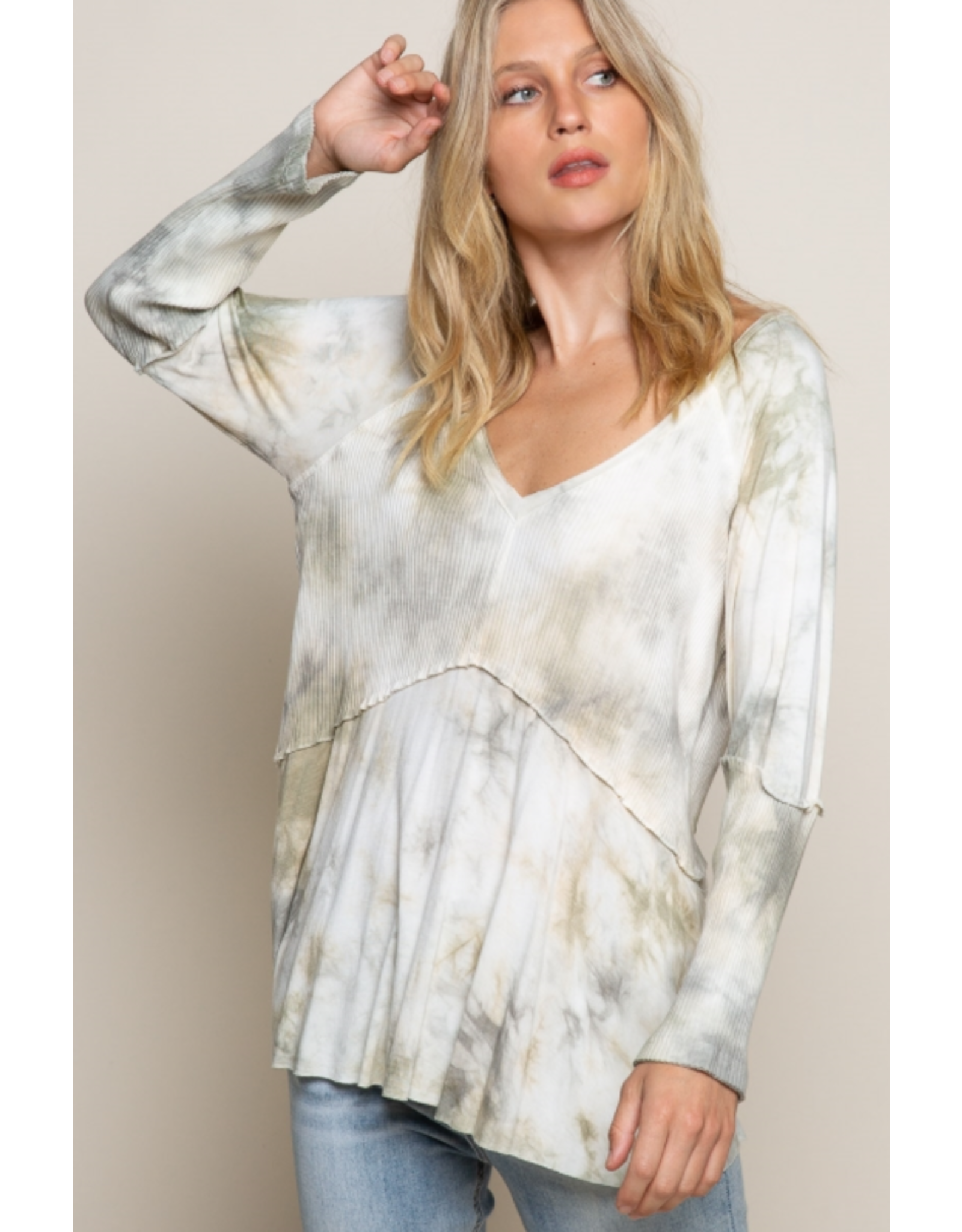 Green/Grey Tie-Dye Top