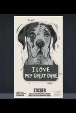 Sticker, I Love My Great Dane