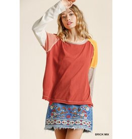 Long Sleeve Multi Color Panel Top