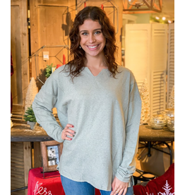 Terry Knit Boxy Top, Long Sleeve,