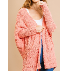 Open Front Oversized Cardigan Sweater with Pockets