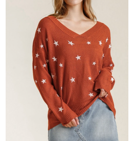 Star Hand Stamped V-Neck Pullover Sweater