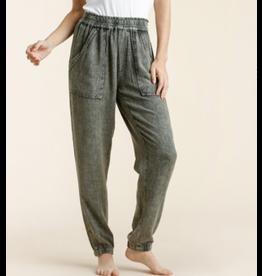 Jogger Pants with Pockets, Linen Blend
