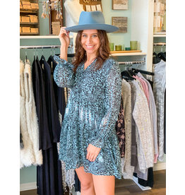Long Sleeve Animal Print Babydoll Dress