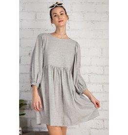 Terry Knit Babydoll Dress, 3/4 Sleeve,