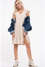 Flutter Sleeve Tiered Skirt Knit Dress