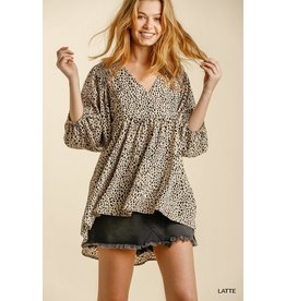 Animal Print V-Neck 3/4 Sleeve Babydoll Top