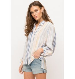 Water Color Stripe Ballon Sleeve Blouse