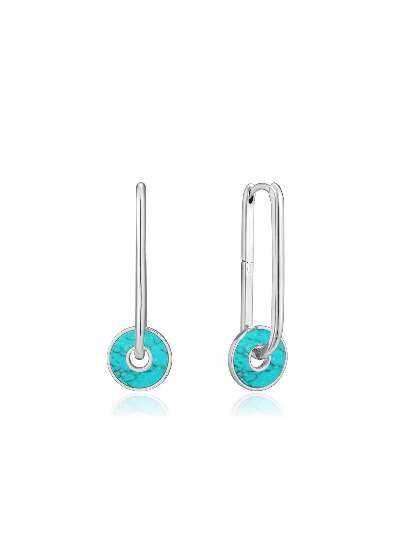 Ania Haie Turquoise Disc Hoop Earrings, silver