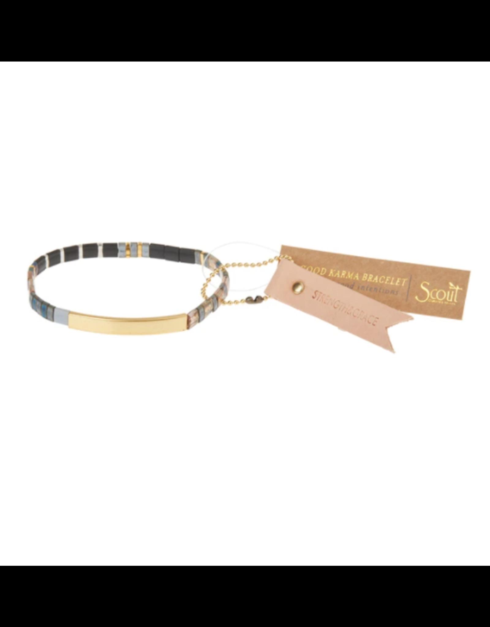 Good Karma Bracelet, Strength & Grace, gunmetal/gold