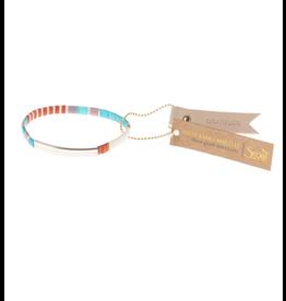 Good Karma Bracelet, Gratitude, turquoise/orange/silver