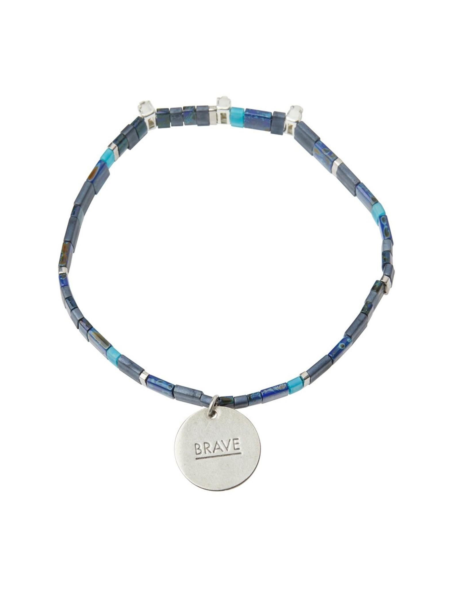 Good Karma Charm Bracelet, Brave, midnight/sparkle/silver