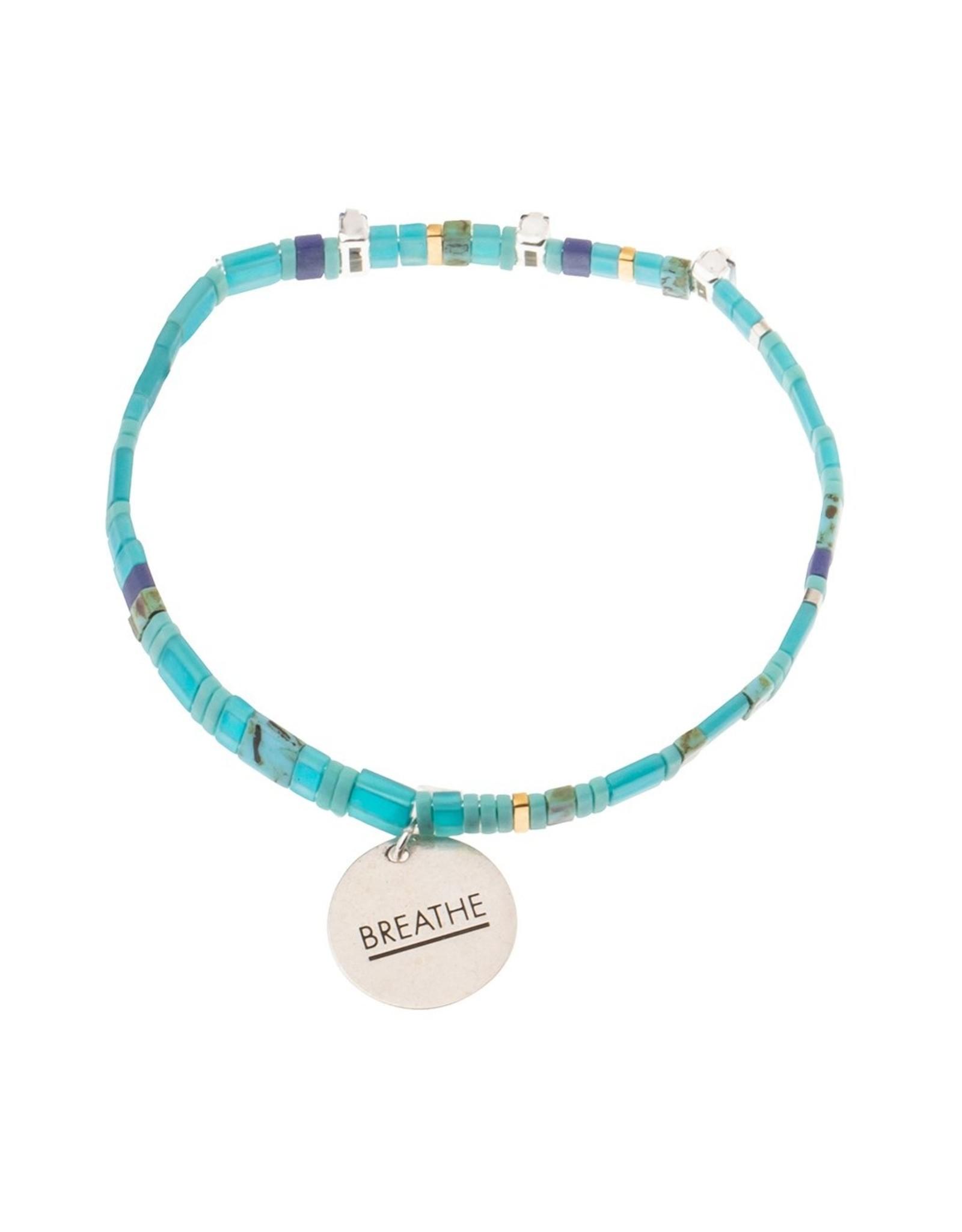 Good Karma Charm Bracelet, Breathe, ocean/sparkle/silver